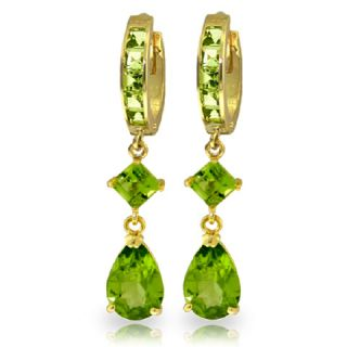 GAT 14k Solid Gold Hoop Huggie Earring with Dangling Natural Peridots