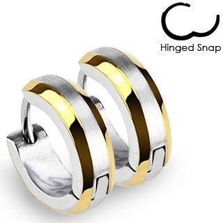 Stainless Steel Hoop Huggie Earrings Gold Plated Edges C311
