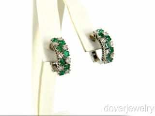38ct Diamond 18K Gold Green Emerald Huggie Clip Earrings