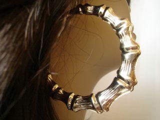 Large 3 inch Gold Tone Bamboo Hoop Earrings Old School