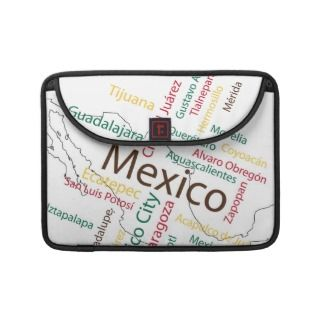 Mexico Map and Cities MacBook Pro Sleeves