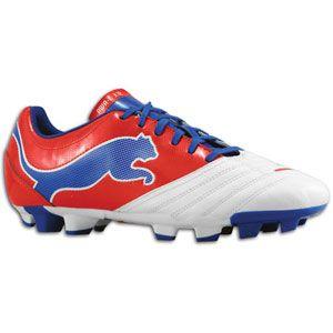 PUMA Powercat 3.12 FG   Mens   Soccer   Shoes   White/Ribbon Red