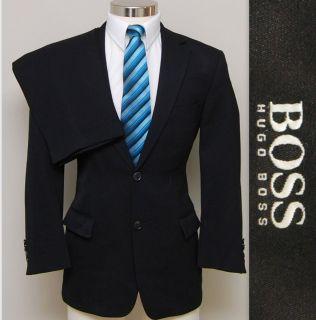 Distinguised Mens 40s Hugo Boss Black Wool Suit