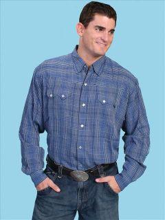 PW 018 Scully Executive Western Cowboy Shirt Blue LG