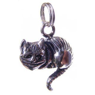 Alice in Wonderland Cheshire Cat Sterling Silver Charm Jewelry