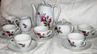 Moss Rose Pattern Mini Tea Set Tea Pot Creamer Sugar Cups Saucers