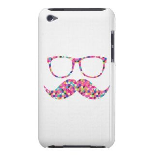 Funny Girly Pink Abstract Mustache Hipster Glasses iPod Touch Cover