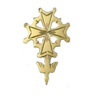 14k Huguenot Cross Tie Tac Lapel Pin