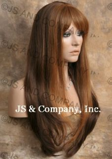 Human Hair Blend Long Straight Auburn Blonde Brown Wig