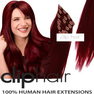 20 Clip in Human Hair Extensions 530 Plum Cherry Red