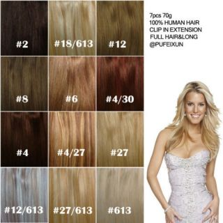Varity of 9pc 100g Clip in on Human Hair Extensions