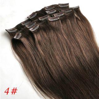 18inch 4 Medium Brown Real Human Hair Extensions