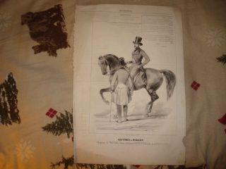 Antique French Mens Fashion Horse Equestrian Print