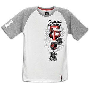 Southpole Raglan Screen/Flock Print S/S T  Shirt   Mens   White/Grey