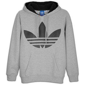 adidas Originals Big Logo Pull Over Fleece Hoodie   Mens   Grey/Black