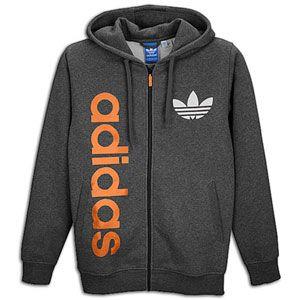 adidas Originals Big Logo Full Zip Fleece Hoodie   Mens   Grey/Black