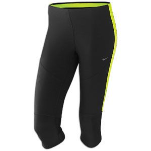 Nike Tech Capri   Womens   Running   Clothing   Black/Volt/Matte