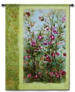 Butterfly Hummingbird Floral Art Tapestry Wall Hanging