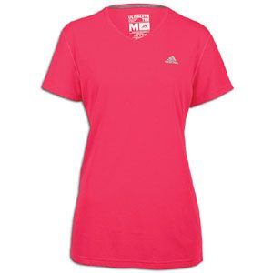 adidas Ultimate V Neck T Shirt   Womens   Bright Pink/Reflective