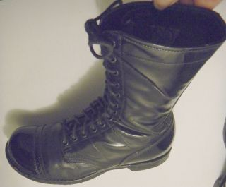Vintage 1960s Corcoran Black Cap Toe Leather Military Combat Jump