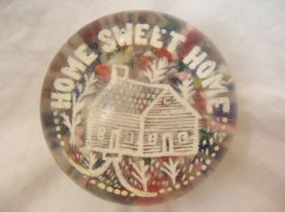 Millville Glass Works Antique Frit glass Paperweight, HOME SWEET HOME