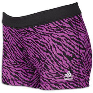 adidas Techfit Zebra Print 3 Boy Short   Womens   Phantom/Ultra