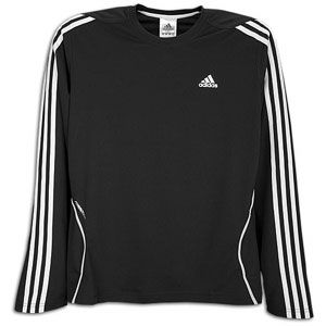 adidas Response Long Sleeve T Shirt   Mens   Black/White/Light Onix
