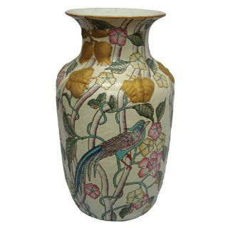 Traditional chinese butterfly flower vase with large bird