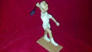 RARE Vintage Romer Carved Wooden Male Tennis Player Figure