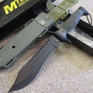 12 Combat BOWIE Hunting KNIFE w /ABS Leg Sheath   Blk Blade   MTech