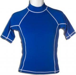 Mens Short Sleeve Rash Guard Swim Shirt Blue UV Protection Medium