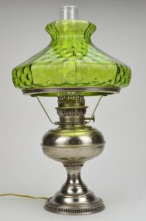 Rayo Antique Nickel Hurricane Lamp with Green Art Glass Lamp Shade