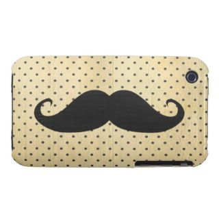 Funny Black Mustache On Vintage Yellow Polka Dots iPhone 3 Case Mate