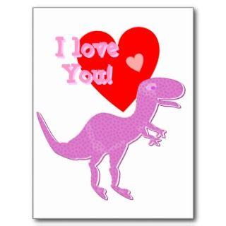 Te amo postal de T Rex del dinosaurio del dibujo a de