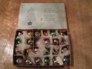RARE 2 DOZ Antique Feather Tree Christmas Ornaments in Orig Box