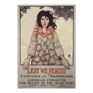 Vintage Lest We Perish WWI Poster Art