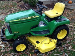John Deere 355D DIESEL Lawn Tractor Mower 345 Hydrostatic Plow 54 Deck