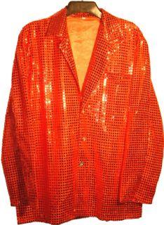 Men 70s Band DJ Sequin Cabaret Party Sparkle Jacket Red