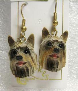 Silky Terrier Dog Figurine Jewelry Earrings