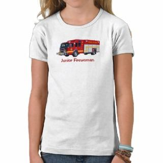 Junior Firewoman Red Fire Engine Fun T Shirt