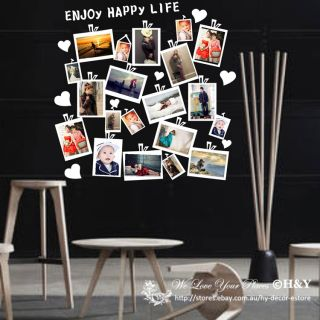20 Pcs Picture Photo Frame Set Wall Black Sticker Vinyl Decal Decor