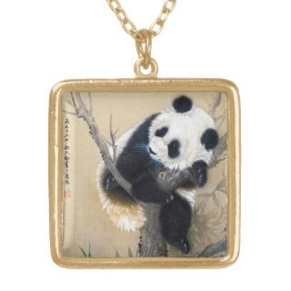 Cool chinese cute sweet fluffy panda bear tree art necklaces