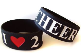 Love 2 Cheer Rubber Bracelet w Saying Wristband