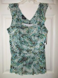 Womens I N San Francisco Sleeveless Lined Tank Shirt Top Sz XL Greens