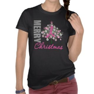 Merry Christmas Breast Cancer Pink Ribbon Wreath Tee Shirts