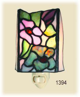 Art Nouveau Tiffany Iris Flower Stained Glass Night Light 1394