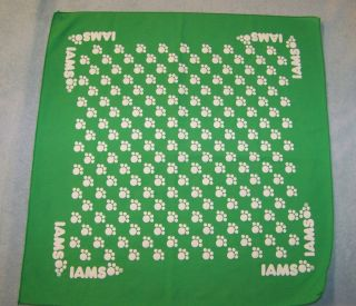 Iams Animal Pet Food Dog Puppy Cat Kitten Green Bandana Paw Prints