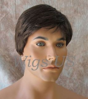 Wigs Classic Handsome Brown Silver Grey Style Choose Color Mens Full