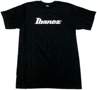 Ibanez Guitar T Shirt White Logo Black Medium M