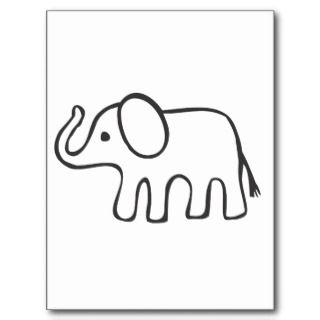 Elefante en bosquejo blanco y negro postal de